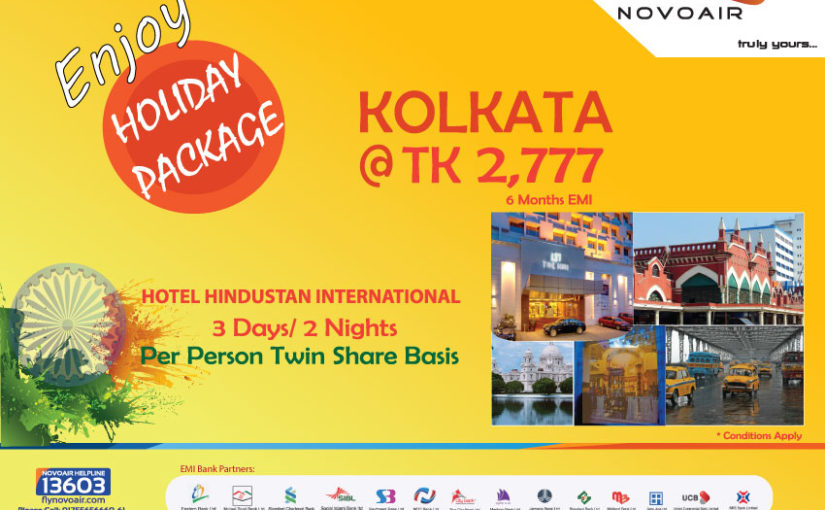 Fly Kolkata at BDT 2,777 per month